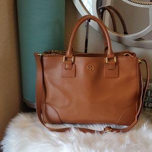 TORY BURCH Robinson Double Zip Brown Saffiano